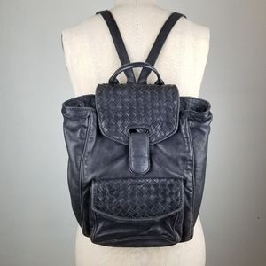 🕷Vintage Bottega Veneta Black Leather Backpack